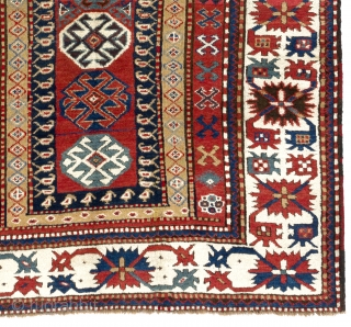 "Antique Caucasian Kazak Rug, 5'2"" x 8'2"" - 158x251 cm, ca 1875. no 4086"