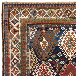 "Colorful Antique Caucasian Bordjalou Kazak Rug, 5'3"" x 7'6"" - 160x230 cm. ca 1880."