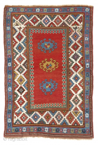 Antique Caucasian Kazak Rug, 4x6 ft (120x176 cm), ca 1880.