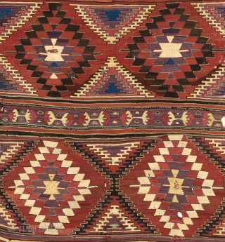 "Antique Central Anatolian Konya Kilim,  ca 1800s. 5'3"" x 9'6"" - 160x380 cm. no 3827"