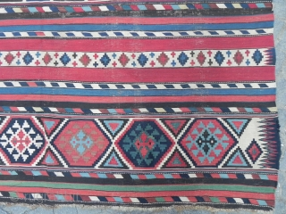 Antique Caucasian Shirvan Kilim Rug, 10.5 x 6 ft (320x183 cm), Provenance: The Henry and Sula Walton collection, Scotland.