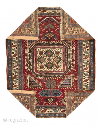 An Early Caucasian Kazak Prayer Rug for a connoisseur, Dated 1798. 4.1 x 5 Ft  (124x153 cm).  The dark blackish color is actually purple, no black on it, very tight  ...