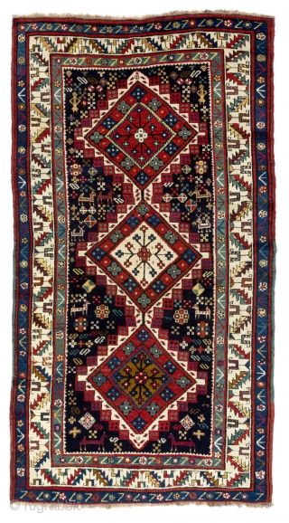 Antique Shahsavan Rug, South Caucasus, ca late 19th Century, 4.1 x 7.8 ft (126x234 cm). Excellent condition, all original, no repairs, no issues, full pile, soft lustrous lambswool, all natural dyes, dark  ...