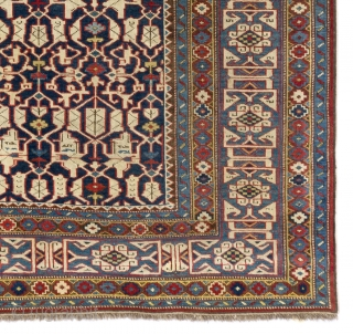 Very Fine Antique Kuba Konaghend Rug, Northeast Caucasus, Dated 1867 AD, 4.2 x 5.8 Ft (127x174 cm). Near perfect condition, no issues. Probably the best of this type we have seen.   ...
