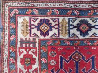 Antique Caucasian Kazak Rug, vigorous palette, delightful colors, graphic design, full pile, mint condition, late 19th Century