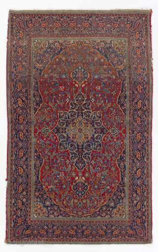 Antique Persian Kashan Rug, 131x210 cm