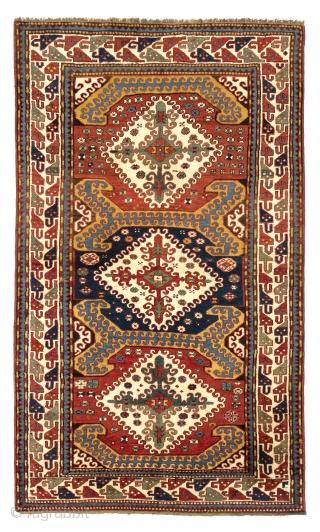 "Rare antique Karabagh Rug in ""German condition"", South West Caucasus, 132x216 cm (4.4 x 7.2 ft), ca 1880."