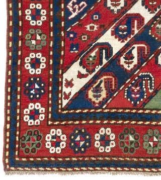 "Antique Caucasian Gendje Rug with 52 Botehs in diagonal stripes but how many flowers?   4'4"" x 7'3""  (133x220 cm), no 513"