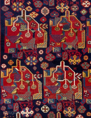 A neat antique tribal Qashqai Rug with rich colors and fine weave, 133x240 cm.