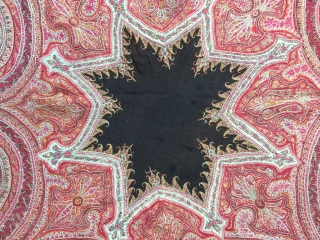 19th cen. embroidered Kashmir shawl,Cm 190x193, beautiful colors and embroidery,good condition in general,some damage on the border ,some small holes.