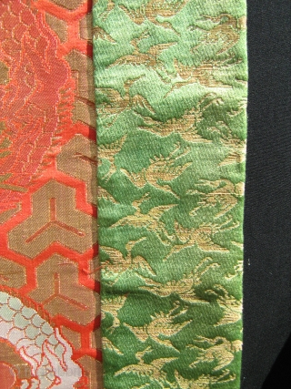 "Japanese ceremonial brocade cloth,Uchishiki?,dated:6.May 1869,""Peaceful education,pure heart to the big sister..."",cm 81x167,very good condition"