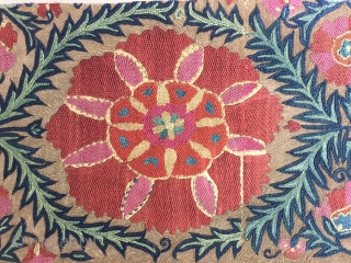 Rare Nurata suzani fragment with silk and metal thread embroidery.Cm.33x66