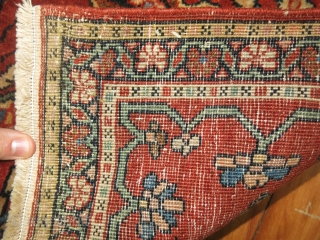 Antique Persian Sarouk Ferehan Mat, 1'10'' x 2'7'' . Full Pile Condition, Great texture and patina  https://jdorientalrugs.com/19th-century-sarouk-ferehan-rug/id/9115