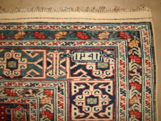 """Caucasian runner in great original shape. Signed and dated 1291 (1874). 3'9""""X10'9""""....114X327 Cm. Needs a bath."""