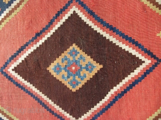 """Large SW Persian Qashqai or Kashkuli Kilim with excellent colors. 5'8"""" X 10'2""""....173X310 Cm. Great shape. Only minor fold wear like lines as shown on the top end."""
