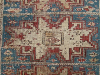 Caucasian Lezgi Star prayer rug. Worn but uncommon...43X55 inches 110X140 Cm.