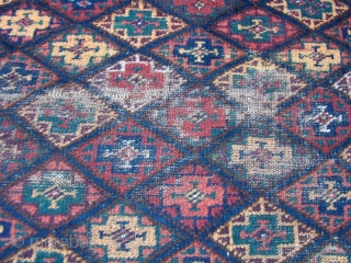 Kurdish rug with some good pile. Worn areas as shown. Wool foundation.