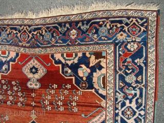 "Khanlig Karabak rug on wool foundation. Size: 4'7"" X 6'....140X183 Cm. Great original shape. Very soft and shiny wool, blanket like floppy handle."
