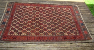"""Large Baluch rug with nice Kilim ends. 4'X6'6"""" .... 122X198 Cm."""
