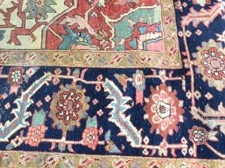 """Early Persian Serapi carpet. 9'4"""" X 14' .....285 X 427"""