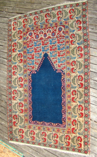 """Turkish Prayer rug with good short pile, lightly oxidized brown. Size: 4'1""""X6'4"""""""