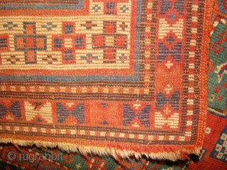 Small Karachof Kazak, probably a prayer rug. Great colors. 33X60 inches OR 85X152 Cm. Oxidized brown, some wear and creases as shown but has decent pile and will look much better after  ...