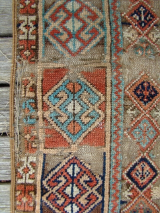 "Antique Anatolian Turkish rug with wear, oxidized brown. Very floppy and soft....49""X88"" OR 125X225 Cm"