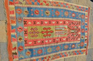 "Wonderful early Kilim prayer rug measuring 64"" x 42"""
