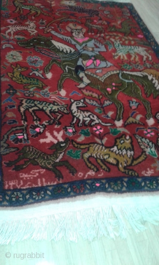 On offer is a hand knotted 30 Raj eye-catching Hunting rug from Kerman Iran.