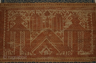 #rb065 a rare silk embroidery Tampan ceremonial cloth from Lampung region south Sumatra Indonesia, Paminggir people handspun cotton natural dyes supplementary weft weave, good condition size: 37 cm x 40 cm