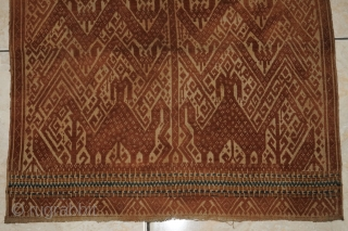 #rb067 a rare Komering Human riding elephant motif Tampan ceremonial cloth from Lampung region south Sumatra Indonesia, late 19th century, Paminggir people handspun cotton natural dyes supplementary weft weave, good condition size:  ...