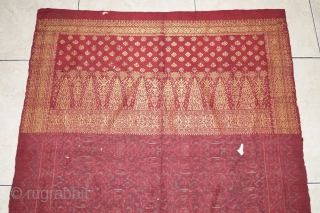 #RB029 Kain Lemar ceremonial shoulder cloth, Malay people Palembang region Sumatra Indonesia, weft ikat silk gold threat natural dyes, late 19th - early 20th century fairly good condition with holes and tears  ...