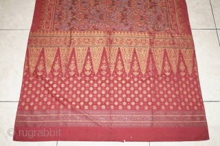 #RB030 Kain Lemar ceremonial shoulder cloth, Malay people Palembang region Sumatra Indonesia, weft ikat silk gold threat natural dyes, late 19th - early 20th century fairly good condition with holes and tears  ...