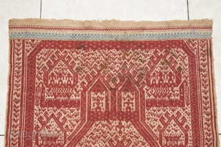 #rb032 Rare and large Red Tampan ceremonial cloth Kalianda or Jabung district Lampung south Sumatra Indonesia, Paminggir people handspun cotton natural dyes supplementary weft weave, rare with red and blue color motif,  ...