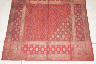 #RB037 Tengkuluk Mans ceremonial head cloth, Malay people Palembang region south Sumatra Indonesia, late 19th century - early 20th century, weft ikat silk gold threat natural dyes supplementary weft weave, good condition  ...