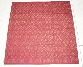#RB 044 Rare Palembang ikat lemar sarong ceremonial cloth, malay people Palembang Sumatra Indonesia, late 19th century, cotton silk ikat supplementary weft weave natural dyes, good condition with holes please see picture  ...