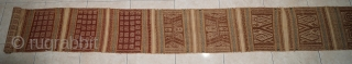 "Very rare ""Royal bridge"" Tampan titi jembatan agung 515 cm long, paminggir people Lampung south sumatra Indonesia, handspun cotton natural dyes supplementary weft weave, 19th century this very long tampan is served  ..."