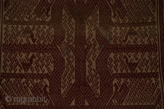 #RB047 A large Tampan ceremonial cloth from Lampung region south Sumatra Indonesia, handspun cotton natural dyes supplementary weft weave, good condition size: 62 cm x 68 cm