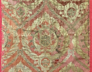 Another museum grade and exceptionally rare antique Ottoman voided silk velvet and metal work textile panel known as Catma or Çatma. It is a very early example possibly dating to 16th century.  ...