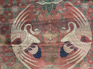 A museum grade and very rare antique imperial Chinese silk woven fabric, dating to the Early Ming dynasty.  The Chinese imperial dynasties went on for many centuries at a time. The  ...