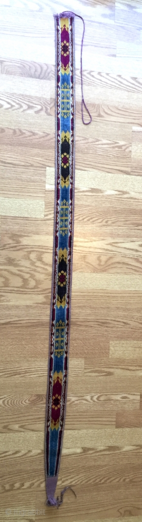 An exceptional and very rare Antique Central Asian double sided silk velvet / bakhmal ikat belt dating to the last quarter of 19th century. These are often attributed to Uzbek or Turkoman  ...