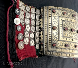 A museum grade silver gold and carnelian Tekke Turkoman / Turkmen Egme / Egma crown attached to tall bridal hats, dating to mid 19th century. This very rare mammoth ethnographic jewellery with  ...