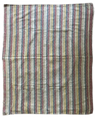 A very rare antique 18th or early 19th century pashmina (?) wool textile / shawl from Kashmir India. This is a coveted example of Indian textile art.  The intricate striped design  ...