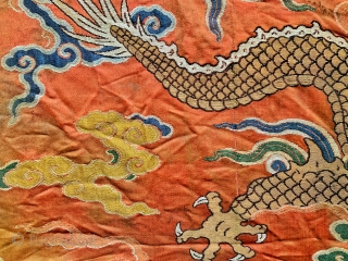An important museum grade 17th century Imperial Chinese antique silk and gold brocade fragment of a dragon robe from Kangxi period of Qing / Tsing / Ching dynasty. Chinese Imperial dynasties spanned  ...