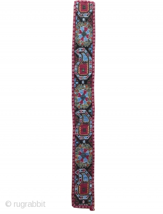 An exceptional antique Uzbek shahrisabz silk cross-stitched belt. It dates to the late 19th century and it is a beautiful piece. Many often mistakenly and generically call these Lakai when they are  ...