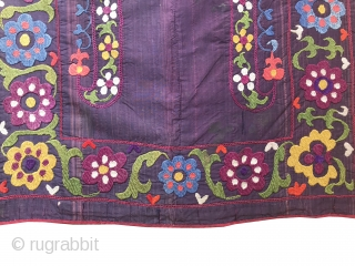 A rare antique Tajik miniature mihrab suzani / susani dating to the 19th century. It is a total gem and a rare type. The silk embroidery is exceptionally fine using a combination  ...
