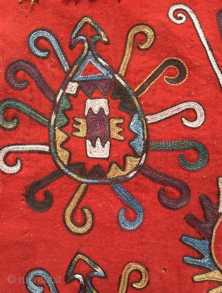A rare antique Uzbek Lakai Tribe silk embroidered Ilgich / Ayna Khalta hanging dating to the last quarter of 19th century. This beautiful example has a very unique design with four motifs  ...