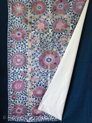 An elegant Antique Uzbek Bokhara nim Suzani / Susani dating between mid and third quarter of 19th Century..  the fine silk basma stitched embroidery and chain stitched embroidery is worked on  ...