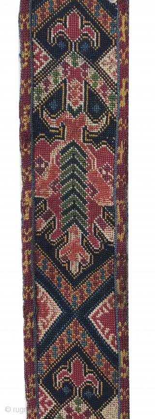 An exceptional antique Uzbek shahrisabz silk cross-stitched belt. It dates to the 3rd quarter of the 19th century and it is an extraordinary piece. Many often mistakenly and generically call these Lakai  ...