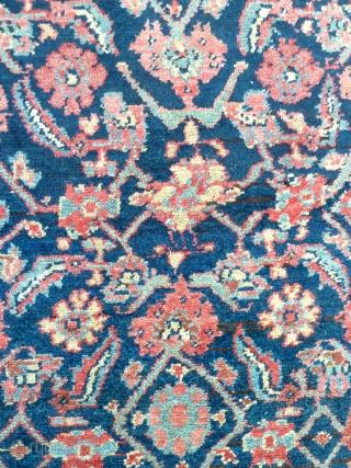 A small Bijar Kurdish rug with a lively herati field, c.1900. 205 x 120cm. Beautiful lustrous wool.